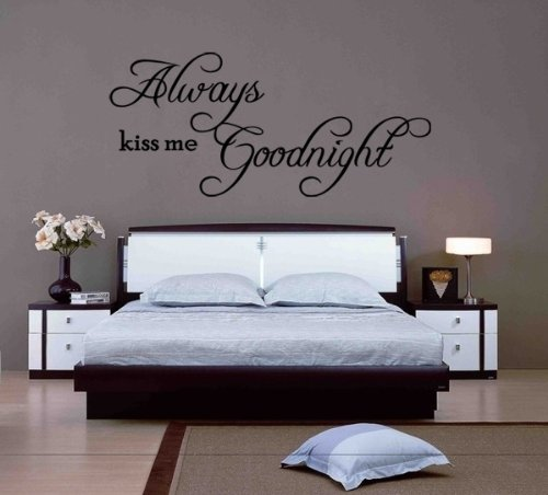 Always Kiss Me Goodnight Wall Art always kiss me goodnight quote vinyl wall art decal