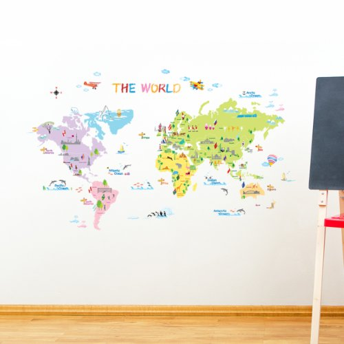 DW Multicoloured World Map Wall StickersKids Wall Decalswall Tr - World wall map kids