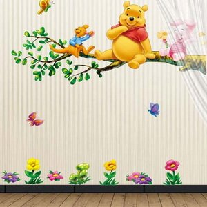 Winnie The Pooh And Tiger Sitting On The Branch (2 Pages) Mural Wall  Stickers Home Art Deco Wall Decals Part 82