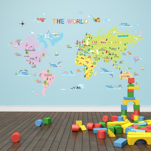 dw 1203 multicoloured world map wall stickers kids wall world map wall sticker vinyl impression