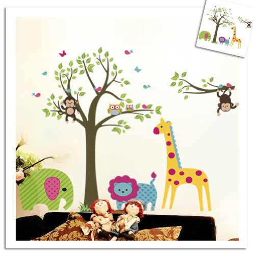 Colorful Tree U0026 Jungle Animals Wall Sticker Nursery Bedroom Wall Art Decor  Cute Giraffe Monkey Owl Tree Art Wall Stickers Kids Room Removable Decal  Baby ... Part 85