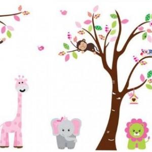Fungoo Large Colorful Tree U0026 Jungle Animals Wall Sticker Nursery Bedroom  Wall Art Decor Elephant/Monkeys/Giraffe/Loin/Owls/zebra Kids Room Removable  Decal ... Part 53