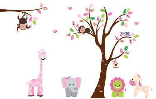 Fungoo Large Colorful Tree U0026 Jungle Animals Wall Sticker Nursery Bedroom  Wall Art Decor Elephant/Monkeys/Giraffe/Loin/Owls/zebra Kids Room Removable  Decal ... Part 89