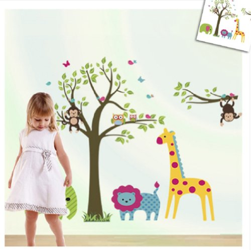 Discountfan Large Colorful Tree U0026 Jungle Animals Wall Sticker Nursery  Bedroom Wall Art Decor Cute Giraffe Monkey Owl Tree Art Wall Stickers Kids  Room ... Part 97