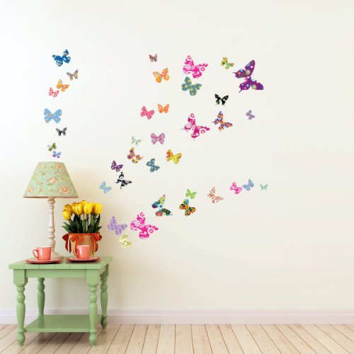 Decowall DW 1201 38 Colourful Butterflies Wall Stickers /wall decals/ - Bedroom Wall Quote Stickers