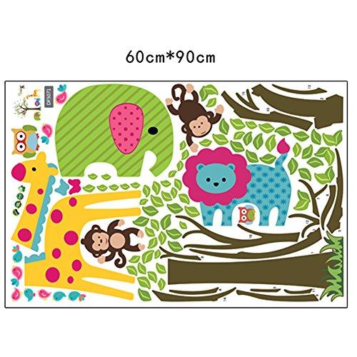 Owls Jungle Animals Wooden Bedroom Furniture Kids: Colorful Tree & Jungle Animals Wall Sticker Nursery