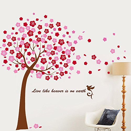 Walplus large cherry blossom tree mural wall stickers pink for Cherry blossom tree wall mural