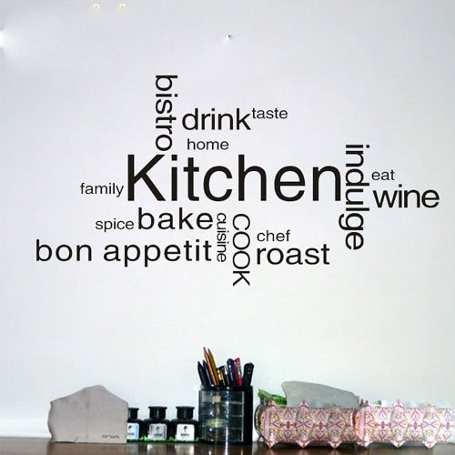 Kitchen Text Vinyl Wall Quote Kitchen Wall Sign Decal Vinyl Sticker For  Shop Office Home Cafe Hotel