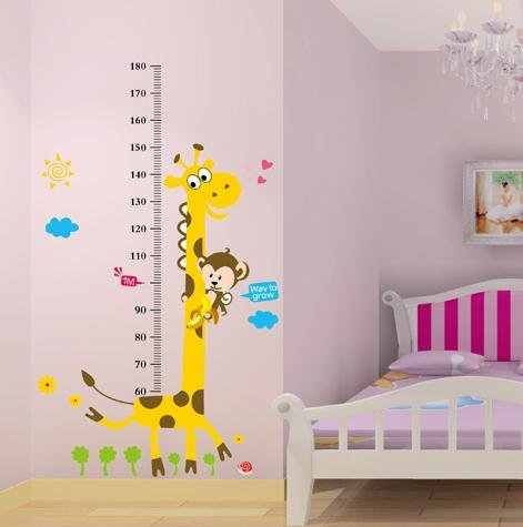 naughty monkey and yellow giraffe wall sticker for kid's bedroom