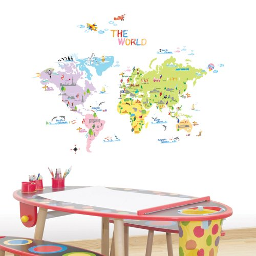 Dw 1203 Multicoloured World Map Wall Stickers Kids Wall