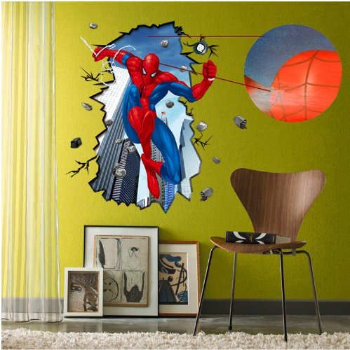 Sumlake 3D Effect Scene Spiderman The Amazing Spider-Man Room Wall Art