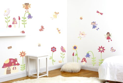 enchanted garden fairies girl's nursery and bedroom wall sticker decor