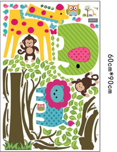 Owls Jungle Animals Wooden Bedroom Furniture Kids: Discountfan Large Colorful Tree & Jungle Animals Wall