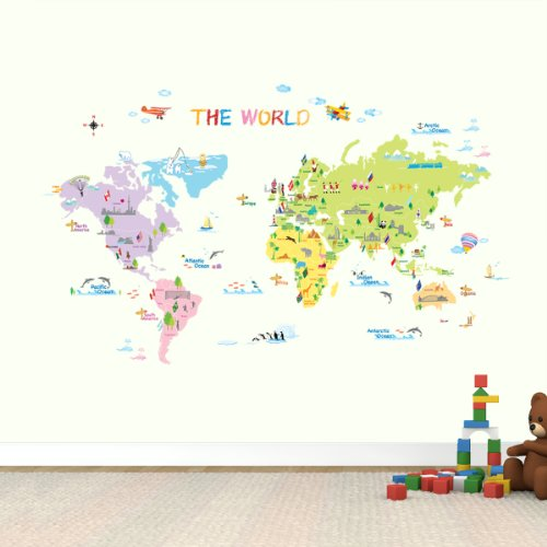 Dw 1203 multicoloured world map wall stickerskids wall decalswall tr dw 1203 multicoloured world map wall stickerskids wall decalswall transferswall tattooswall sticker gumiabroncs Choice Image